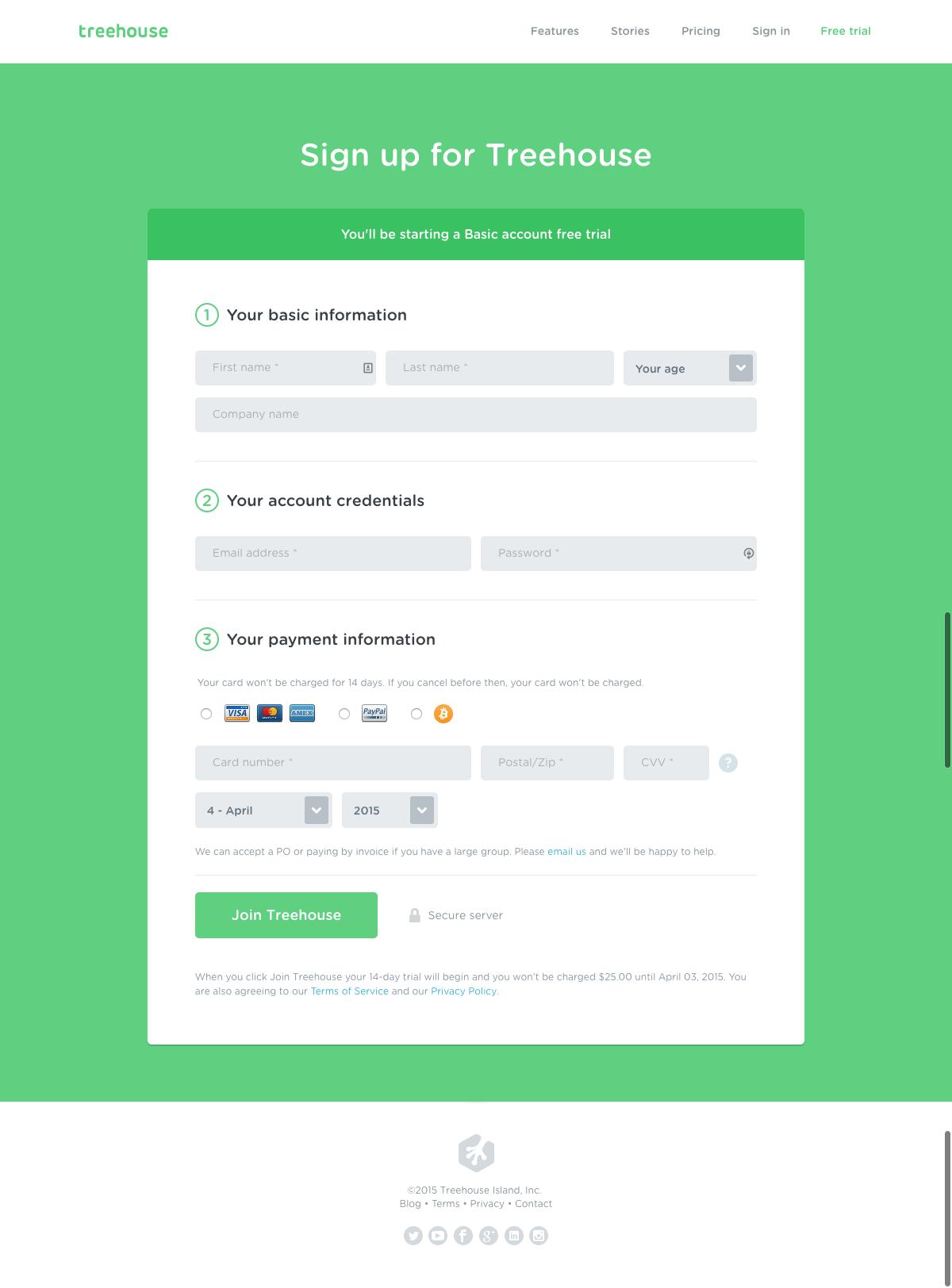 Treehouse\'s signup page | Pay UI | Pinterest | Diseño de app ...