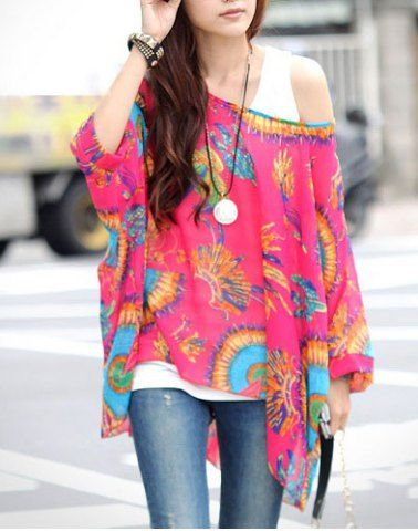 Stylish Scoop Neck Floral Print Batwing Sleeve Women's Blouse Blouses | RoseGal.com Mobile