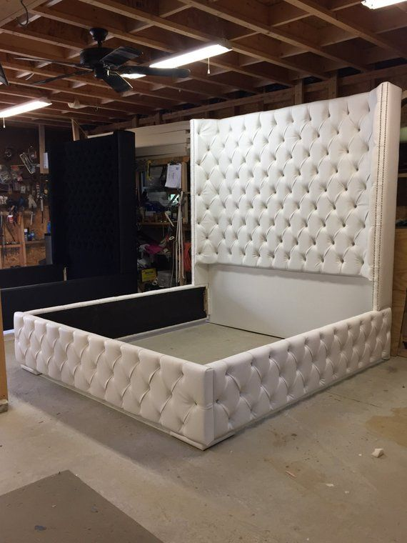 Free Shipping White King Size Tufted Bed Luxurious Wingback With Nickel Nailhea