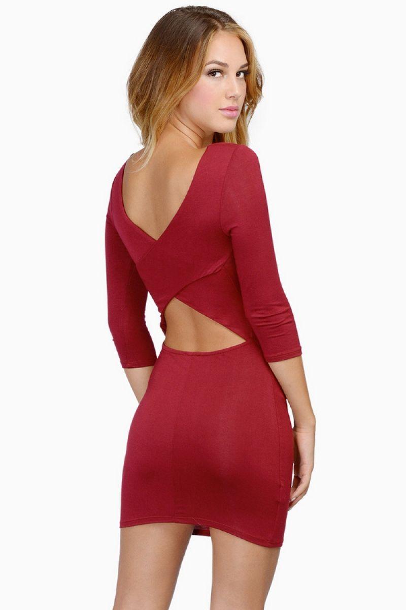 Red Backless Midriff Slim Bodycon Dress