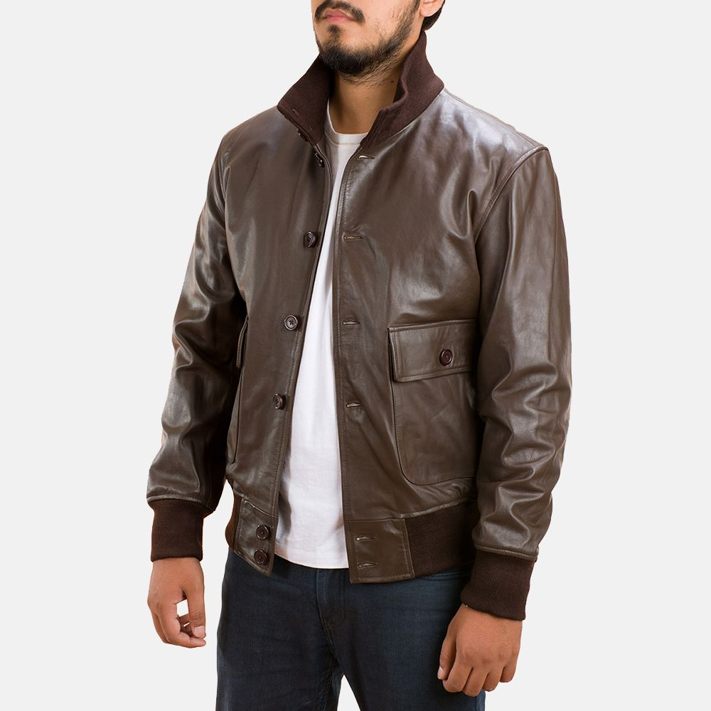 bca0f397c70 Mens Columbus Brown Leather Bomber Jacket Outer Shell  Real Leather Leather  Type  Cow Hide