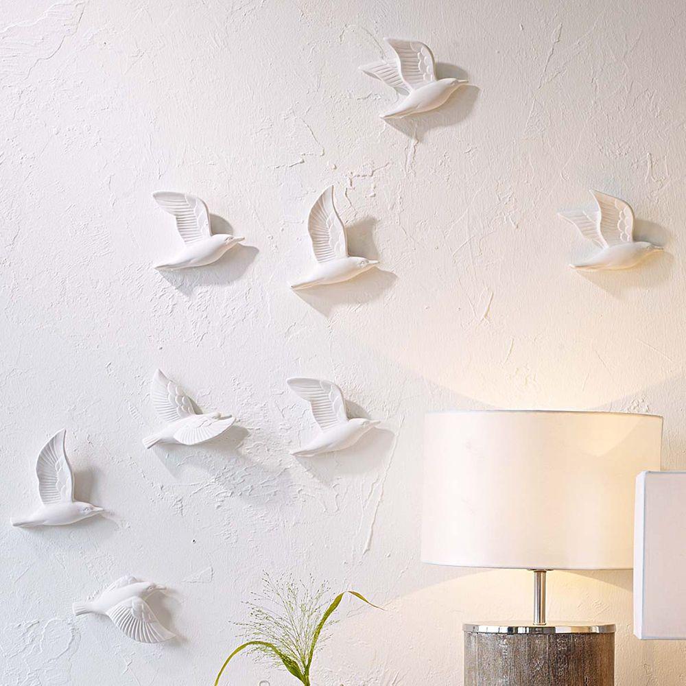 5 Tlg Deko Set Mowen 3d Weiss Dekoration Deko Wanddekoration Wanddeko Mowe Neu Wall Ceramic Wall Ceramic Wall Art