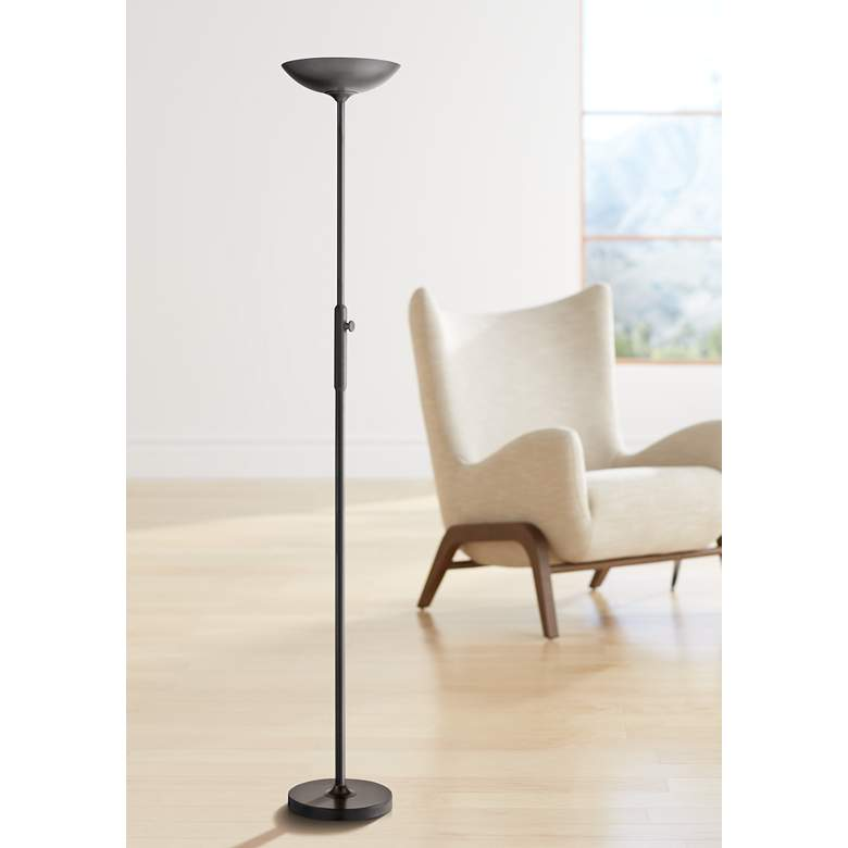 Lite Source Lemuel II Black LED Torchiere Floor Lamp in