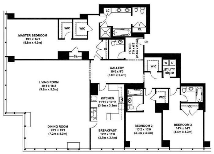 3 Bed 4 Bath Nyc Condo Condo Floor Plans Floor Plans Apartment Floor Plans