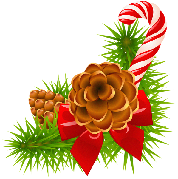 Christmas Pine Branch With Cones And Candy Cane Decor