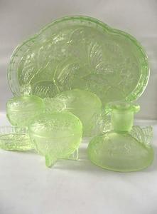 Vintage Art Deco Uranium Green Gl Dressing Table Set Flowers Erflies Ebay