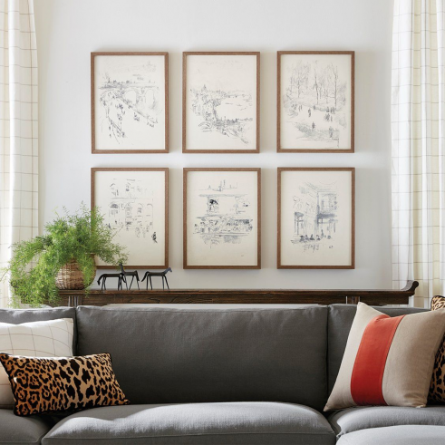These charming European cityscapes have the look of an artist's sketchbook with each scene quickly drawn in the moment to be used as inspiration for a future painting. This series of landscapes gives any space from living room to office a well-traveled look. #GlobalStyle #WallArt #WallDecor #FramedWallArt #WallSketch #CoolWallDecor #TravelDecor #LivingRoomWall #LivingRoomArt #BehindTheSofa #BehindSofaArt #matter #matter #art