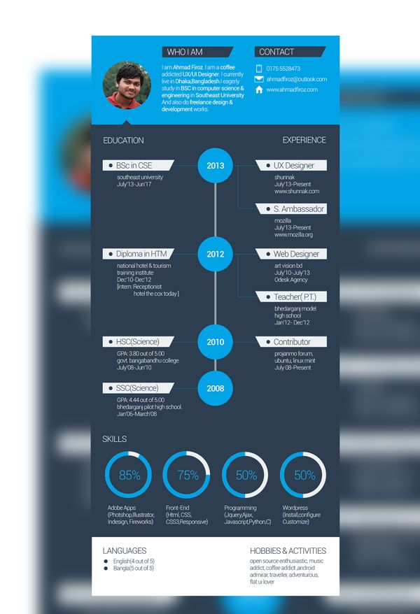 Flat Resume Templatefree By Ahmad Firoz Via Behance Free Resume