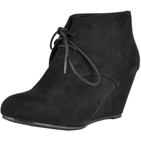 Womens Ankle Boots Suede Low Heel Lace Up Casual Wedges black SZ 10 ( 25) ❤  liked on Polyvore featuring shoes e0b92ab841