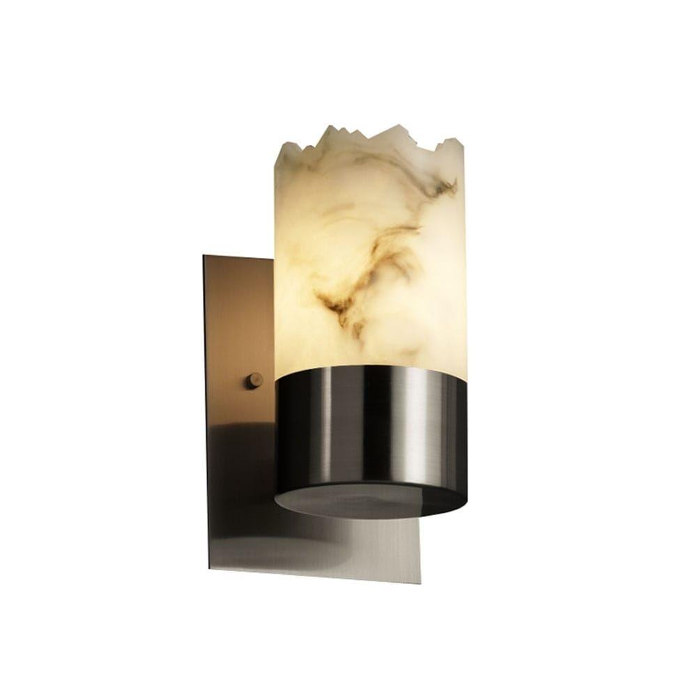 Photo of Justice Design Group LumenAria Dakota 1-uplight Brushed Nickel Wall Sconce, Faux Alabaster Cylinder – Broken Rim Shade (Brushed Nickel, Faux Alabaster