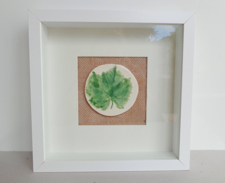 Botanical Vine Leaf Wall Art, Mixed Media Framed Ceramic Green