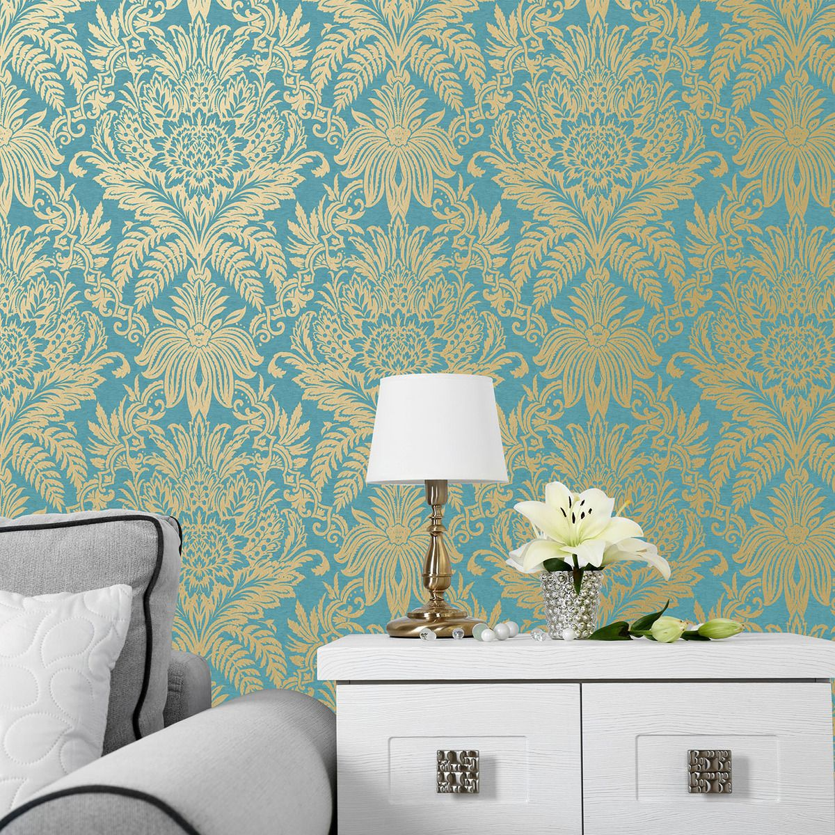 Crown Signature Leaf Signature Rich Teal M1064 Damask Wallp
