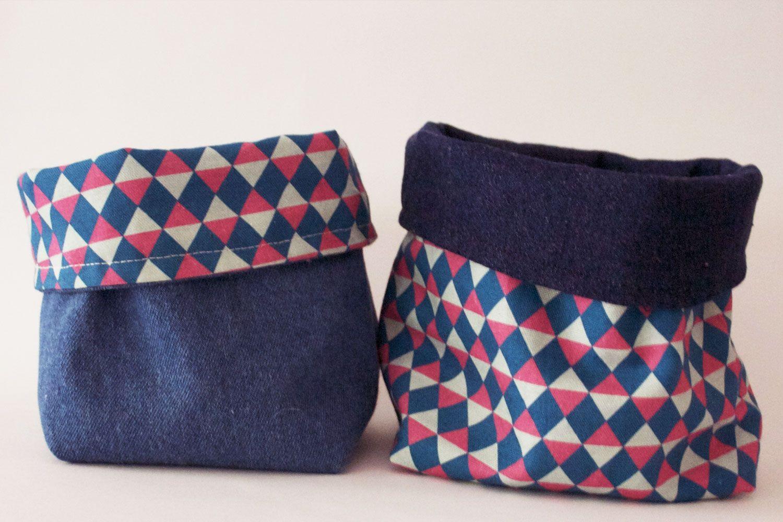 un panier en tissu r versible diy panier en tissu panier et tissu. Black Bedroom Furniture Sets. Home Design Ideas