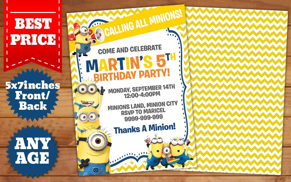 This instant downloadable is for a minions birthday invitation this instant downloadable is for a minions birthday invitation template in photoshop psd stopboris Gallery