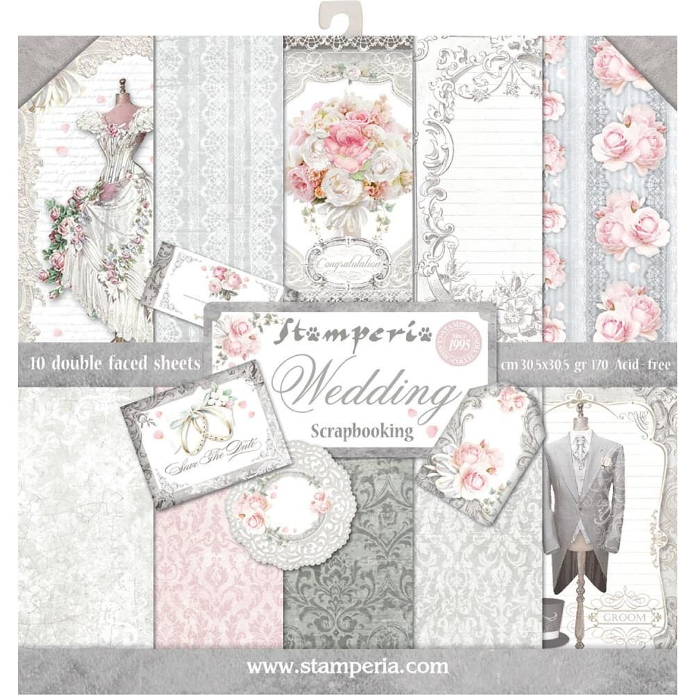 Lace /& Wood; 10 Designs//1 Each Stamperia Double-Sided Paper Pad 12X12 10//Pkg-Roses