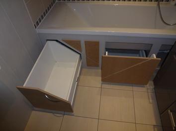 Rangement gain de place sous baignoire diy salle de bain for Rangement baignoire