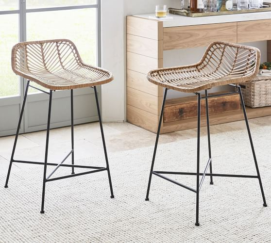 Wicker Woven Counter Stool In 2020 Counter Stools Wicker Counter Stools Kitchen Counter Stools