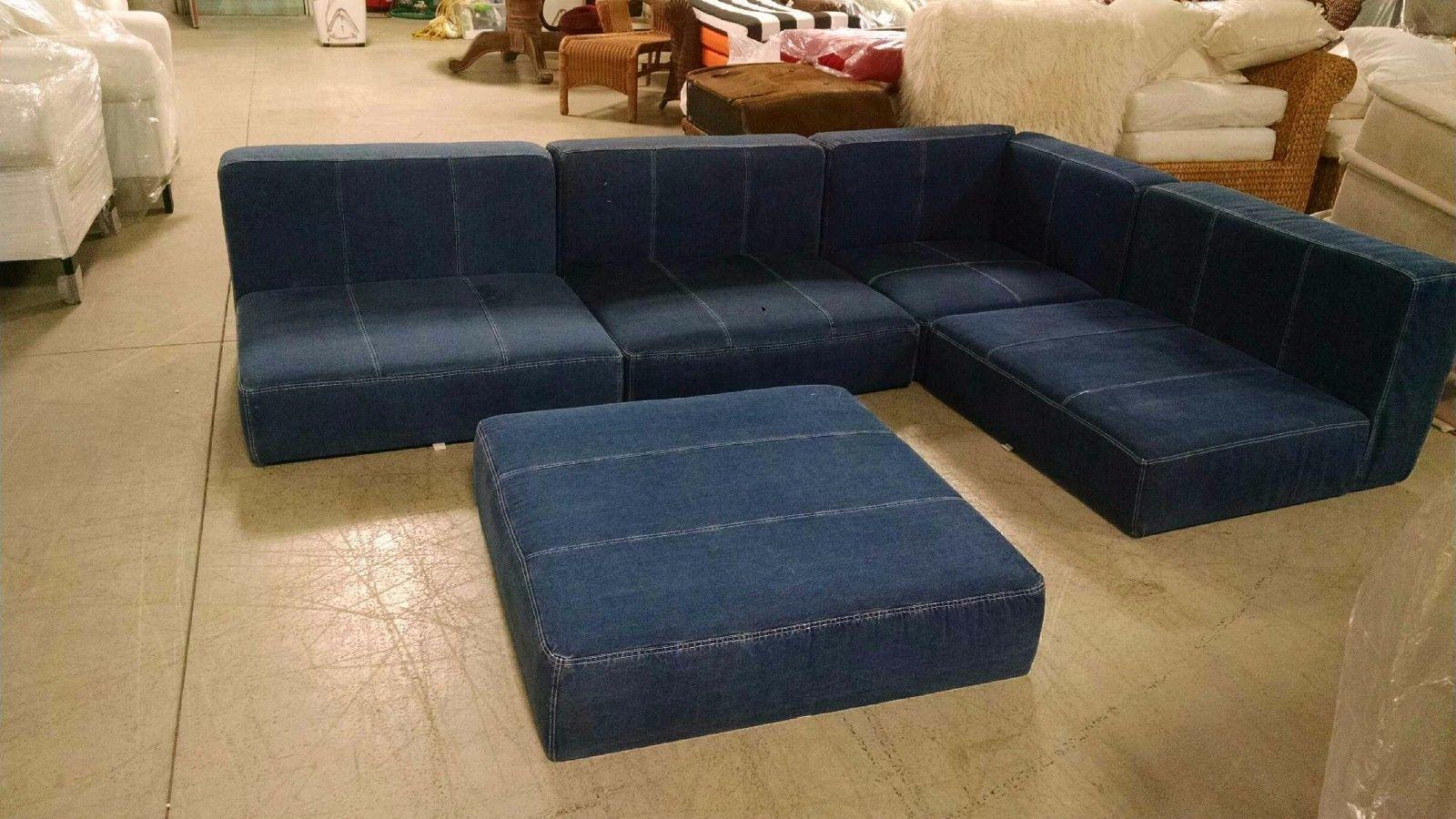 Pottery Barn Sleeper Sofa Ebay And Couch Sale 5 Pc Teen Cushy Lounge Floor Corner Chair Ottoman Denim