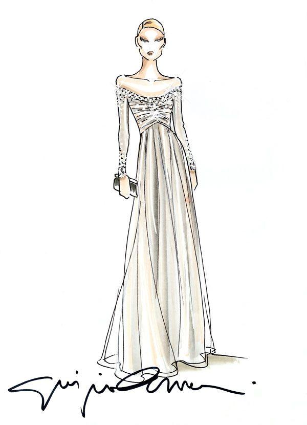 Giorgio armani sketch fashion illustrations for Giorgio armani wedding dress