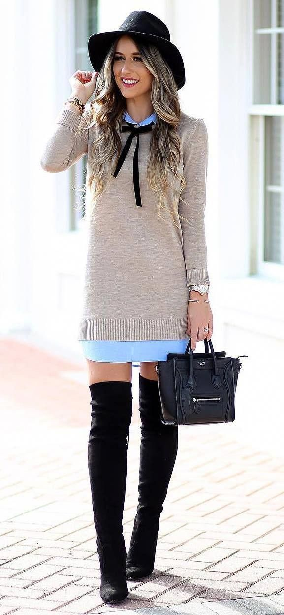 Fashionable Outfit Idea Hat Nude Sweater Dress Bag Over Knee