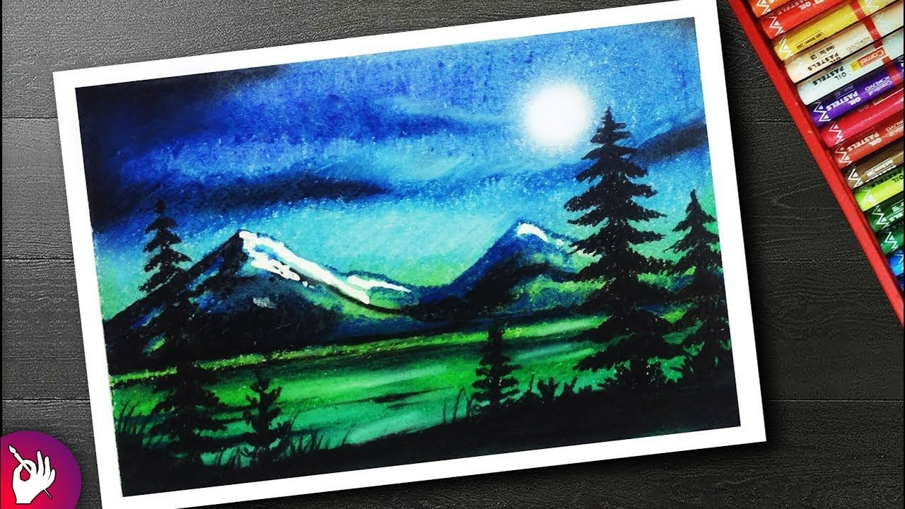 Moonlight Drawing For Beginners With Oil Pastel Landscape Scenery Oil Pastel Art Pastel Art