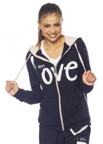 Zip Up Hoodie Peace Love for Women