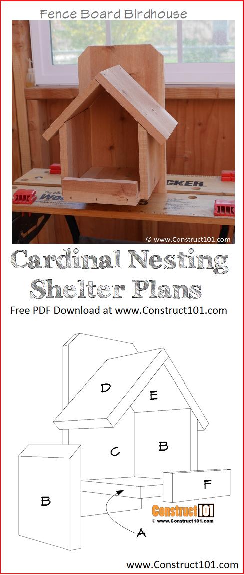 Cardinal Nesting Shelter Bird House Plans Pdf Download Construct101 Diy Cardinal Bird House Bird Houses Ideas Diy Bird House Plans Free Bird Houses Diy