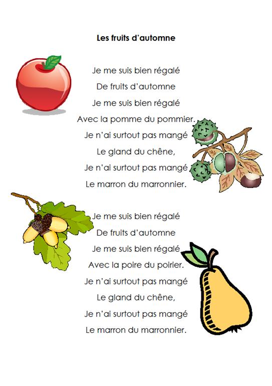 Comptine sur les fruits d 39 automne chanson pinterest - Fruits automne maternelle ...