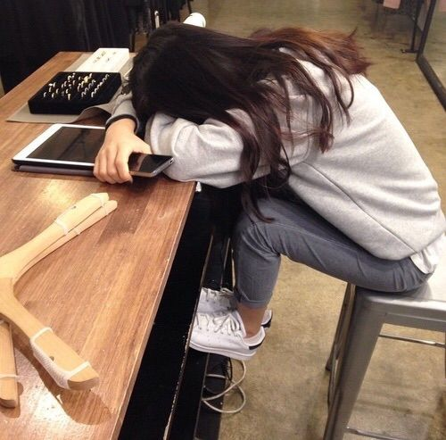 Image Via We Heart It Fashion Girl Sad Sleepy Tired