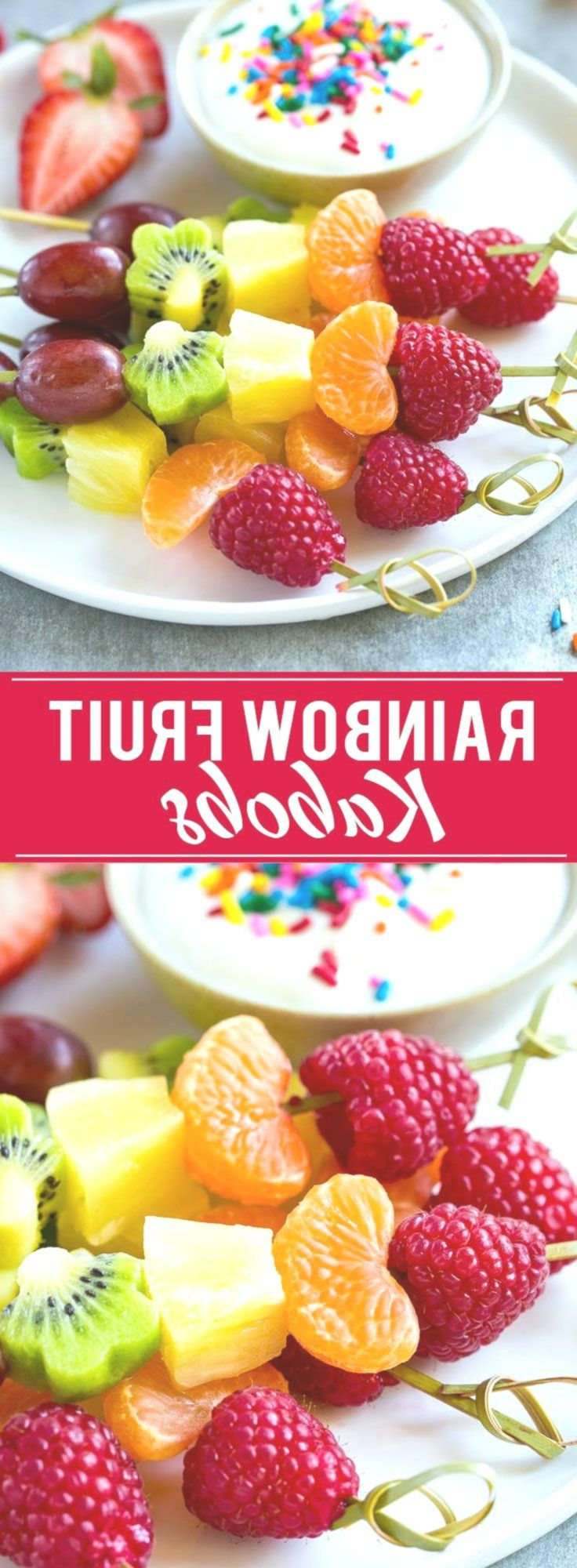 This recipe for fruit kabobs is a rainbow of fruit served on skewers with a yogu...,