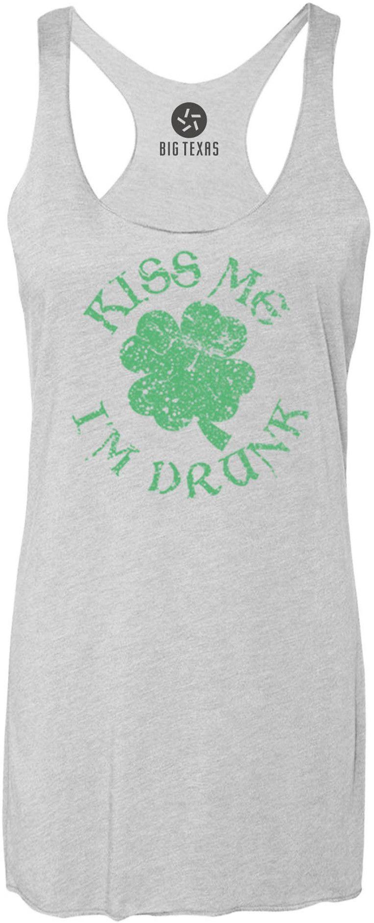 Distressed Kiss Me Im Drunk (Green) Tri-Blend Racerback Tank-Top