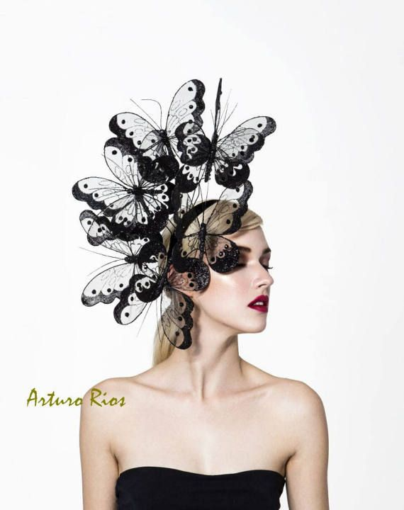 Black butterflies headpiece couture butterfly fascinator. Black butterflies  headpiece couture butterfly fascinator Sombreros Y Tocados 7dcd5d773ad