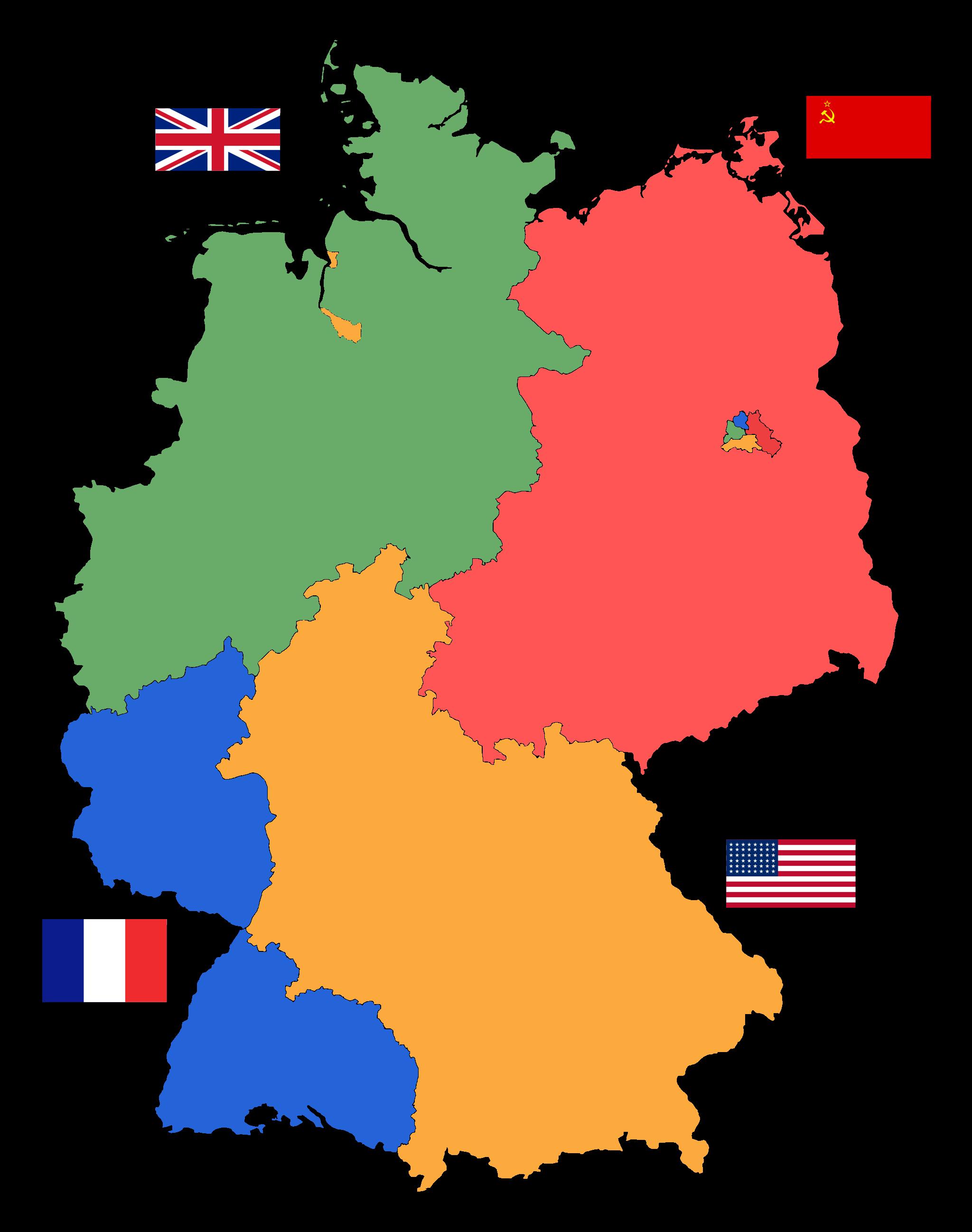 Karta Nemacke Berlin.Post War Occupied Germany British Green Soviet Red American