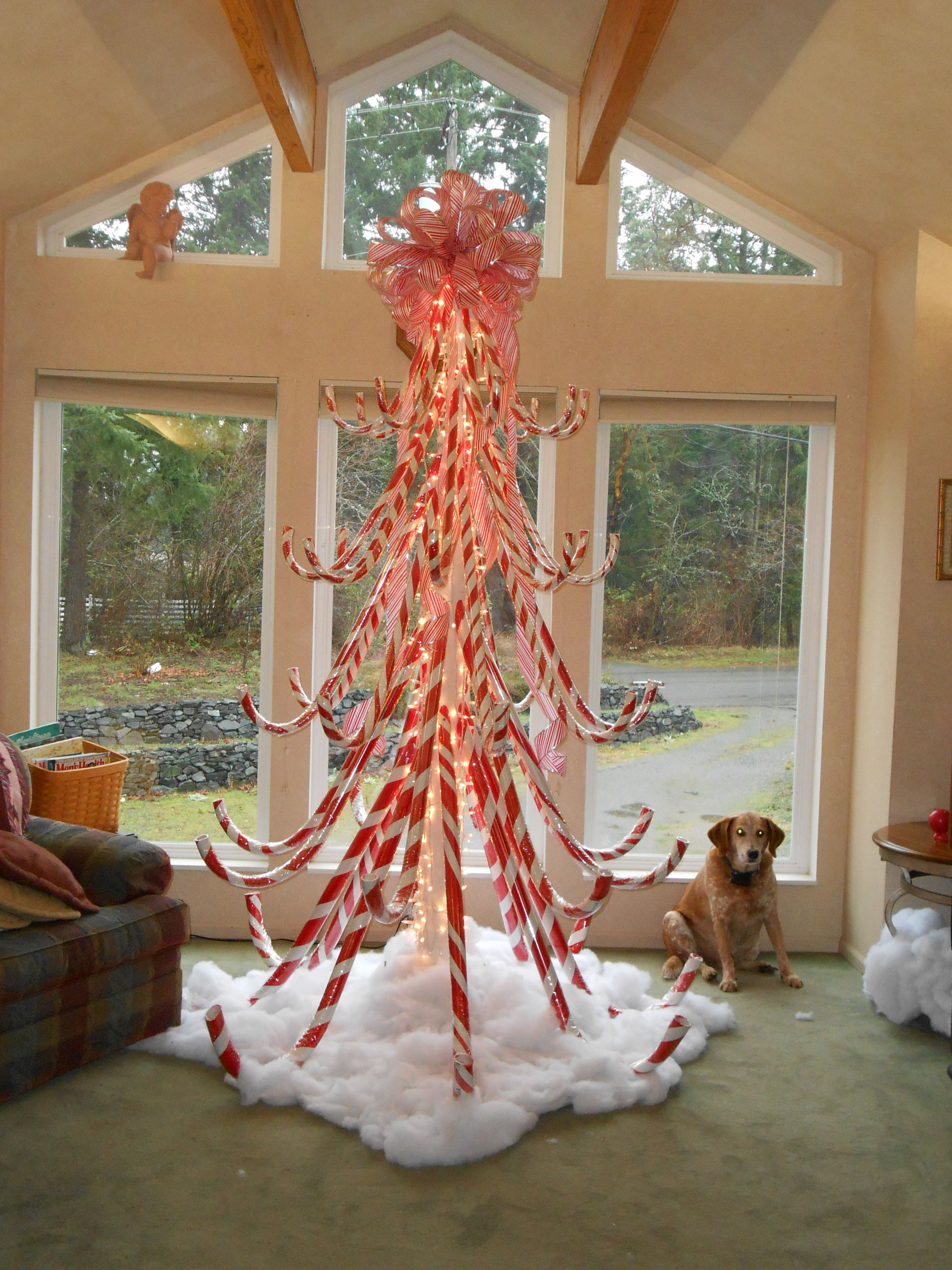 Hand Crafted Candy Cane Christmas Tree Alternative