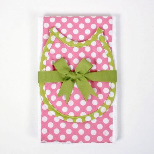 A pink burp Clothe w/ White Polka-Dots !?