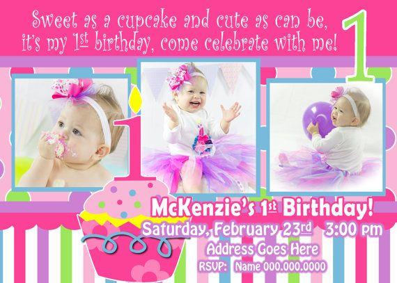 Cupcake Invitation 1st Birthday Girl invitation 1st birthday girl - invitation for 1st birthday party girl
