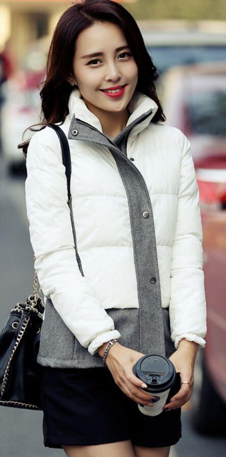Winter down jacket with woolen elements, down jackets, korean down jackets, downjacket from korea, stylish down jackets, 2015-16 jacekts, style, korea