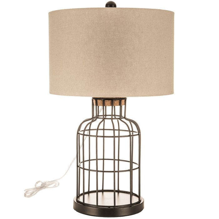 Get Black Fillable Metal Cage Keepsake Lamp with Linen Shade online ...