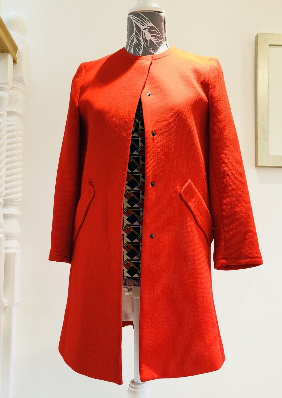 ZARA Red Checked Wool Blend  Coat //Jacket BNWT  Sizes S/&L/&XL