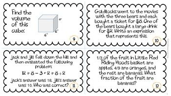 Back to School 6th Grade Common Core Math Review Task
