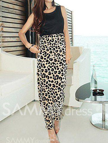 5c34187779  8.41 Fashion Scoop Collar Leopard Print Splicing Sleeveless Slimming Long  Dress