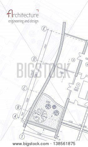 Architectural Vector Background Blue Building Plan Silhouette And
