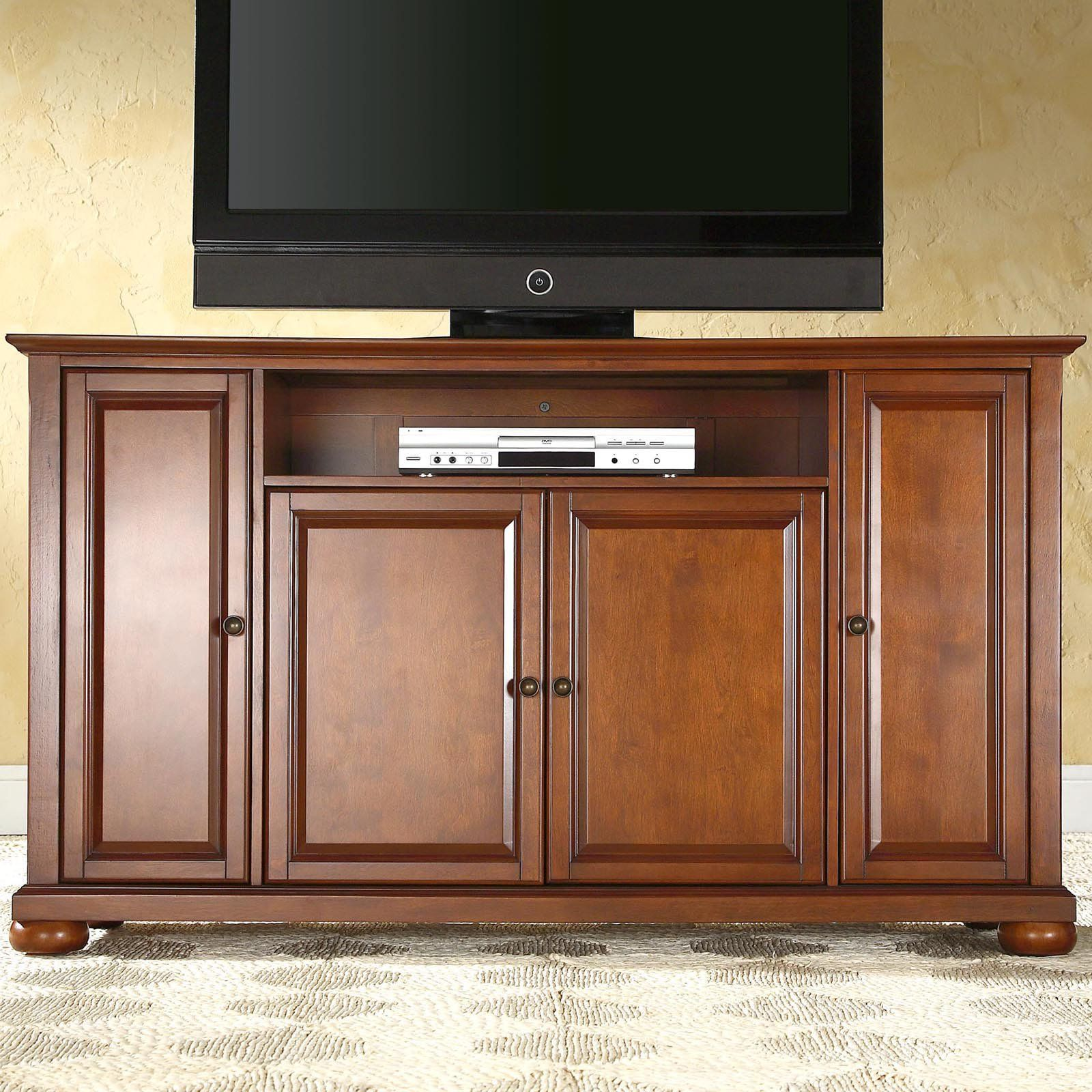 Crosley Alexandria 60 In Tv Stand Classic Cherry Kf10001ach Large Tv Stands Crosley Furniture 60 Tv Stand