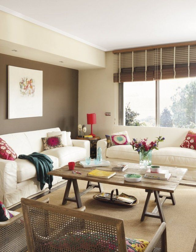 Wohnzimmer Wandfarbe Braun Ecru Polstersofas Holz Couchtisch | Living Room  Ideas | Pinterest | Sofá E Salas