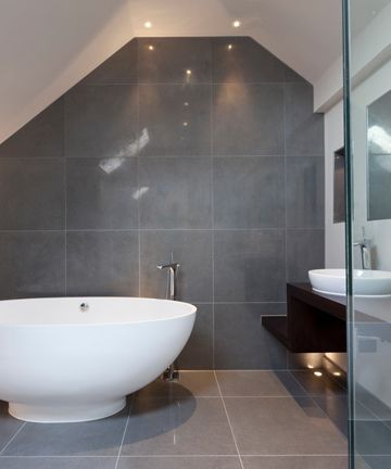Same Tile On Bathroom Floor And Wall Google Search Grey Bathrooms Grey Modern Bathrooms White Bathroom Decor