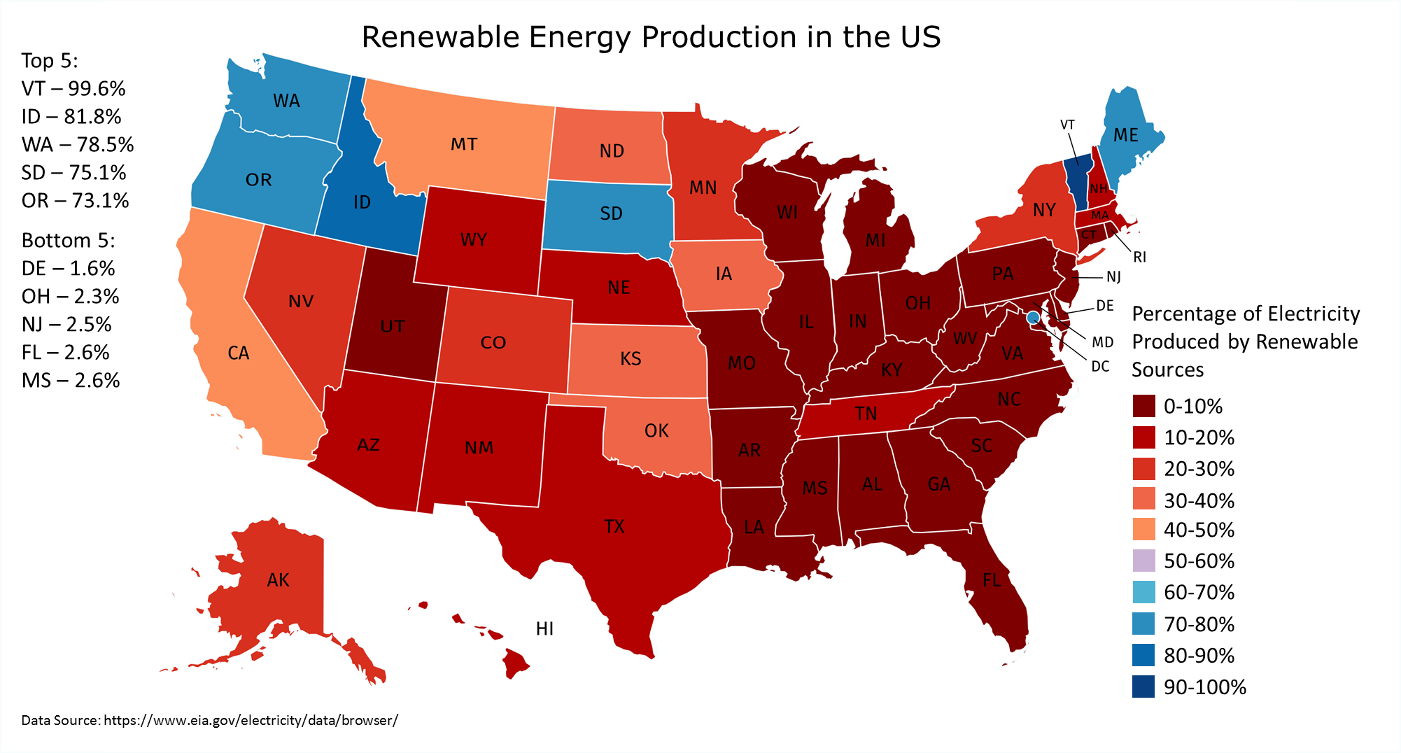 How Green Is Your State United States Renewable Energy Nuclear - Nuclear-map-us