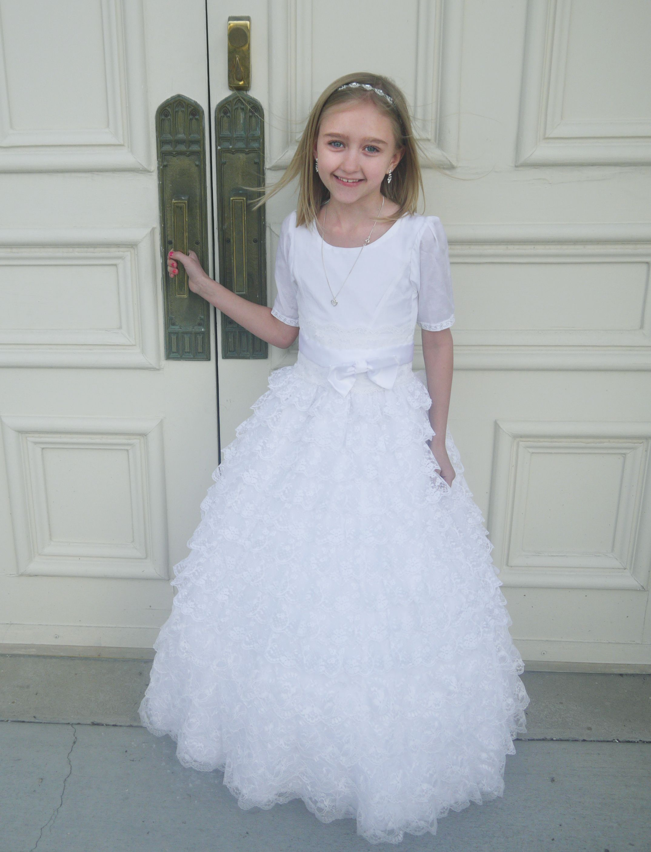 White lace 8 year old baptism dress