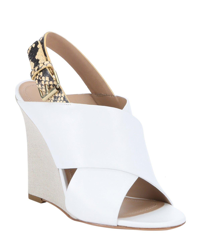 6af90cd3abed CELINE White Calfskin And Yellow Python Slingback Wedges .  celine  shoes   sandals