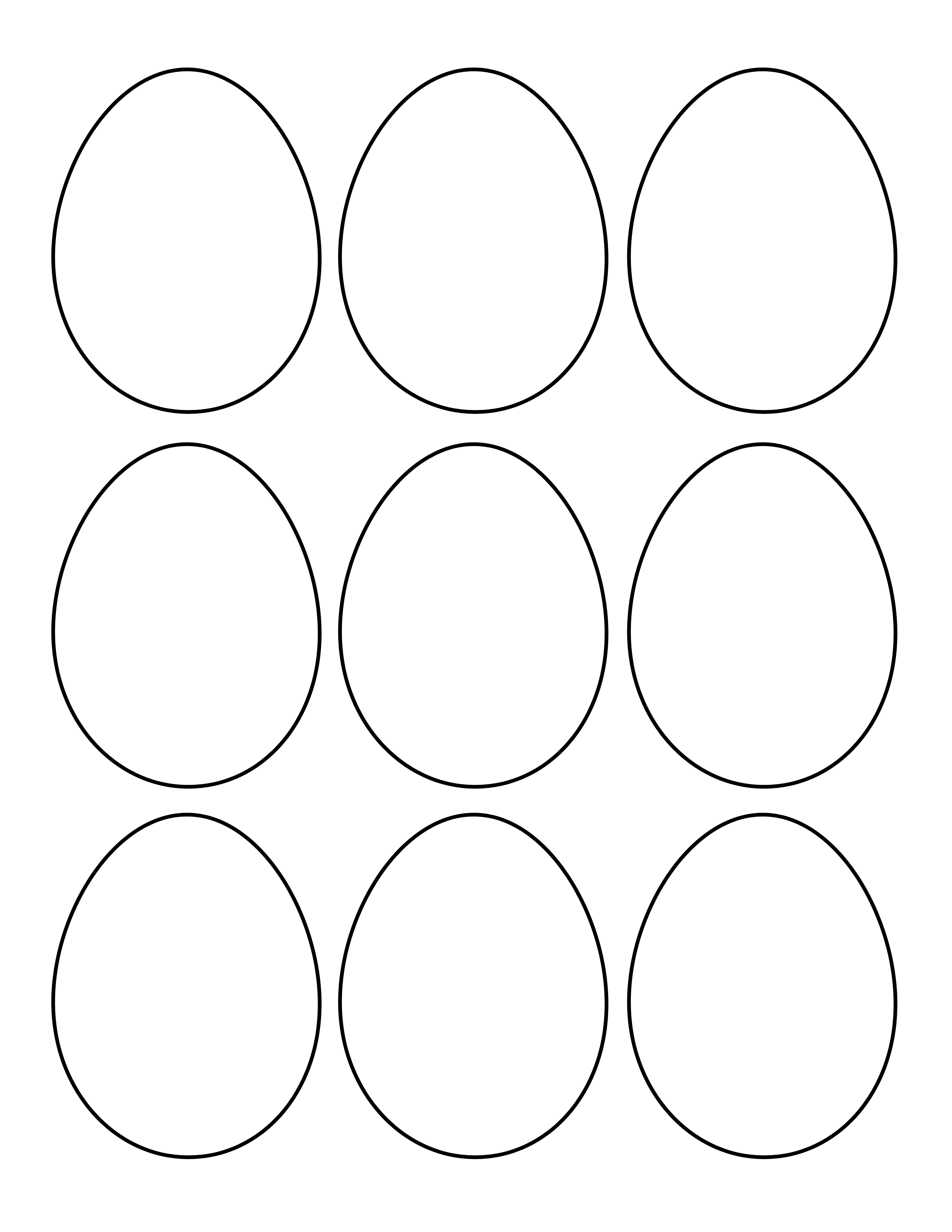 Plain Egg Shapes Easter Egg Template Easter Coloring Pages Coloring Easter Eggs