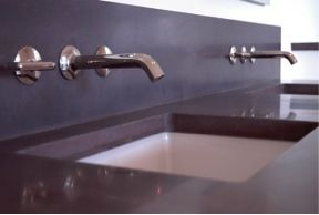 Clean Concrete Countertop And Backsplash Allows The Wall Mount